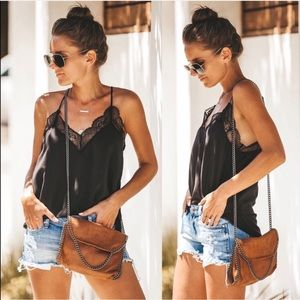Women's lace tank black tops